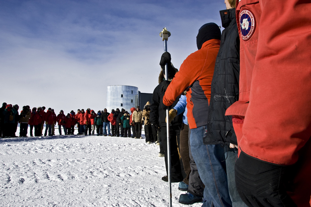 Geographic marker moved. Photo courtesy of NSF/The Antarctic Sun.